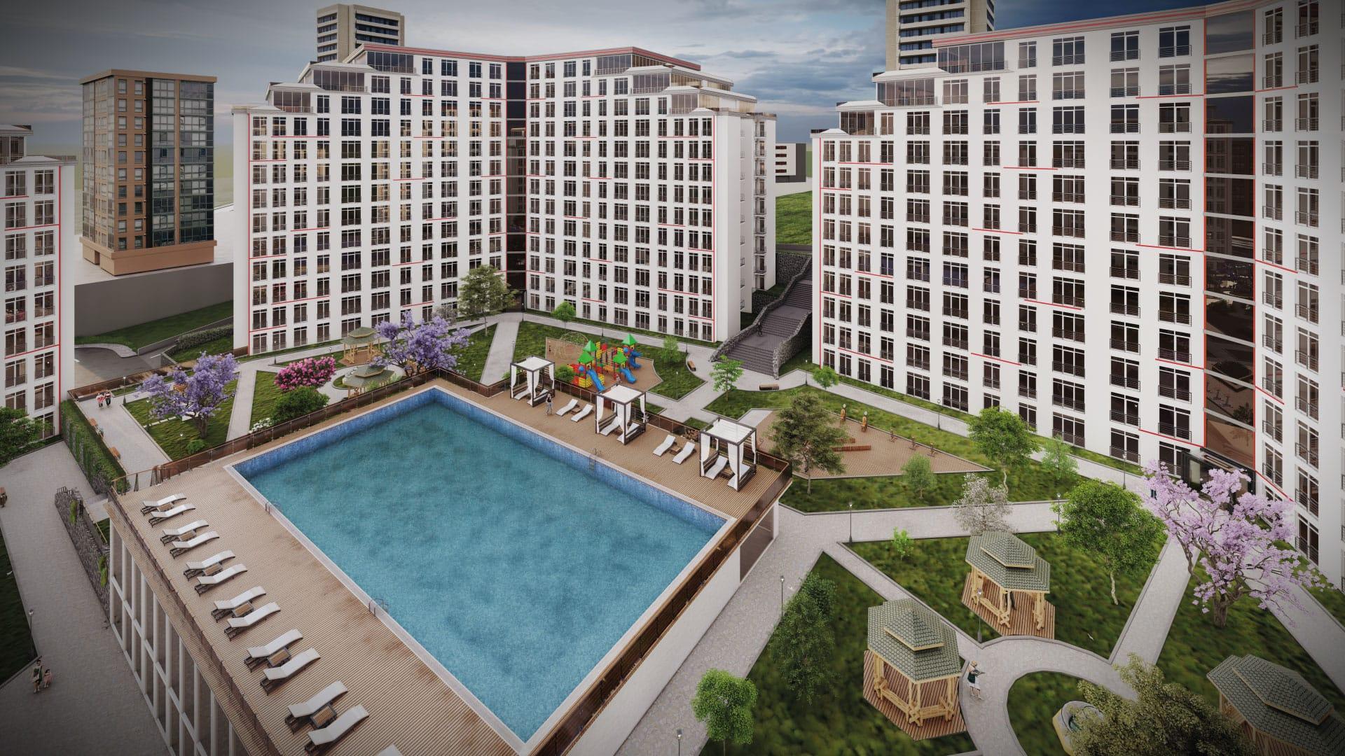 مشروع بمساحة معيشية وتجارية فريدة من نوعها عند تقاطع بهشة شهير وبيليك دوزو في المنطقة النامية والأكثر استثمارآ في اسطنبول     (   كود المشروع      IC 42  )